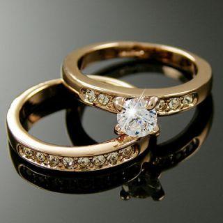 White Gold EP lab Blue Sapphire & CZ Bridal Wedding Ring Set   SIZE 9