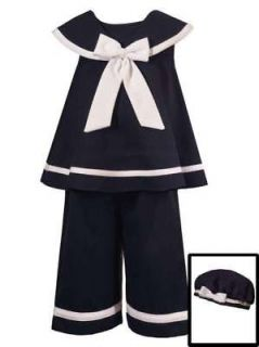 Rare Editions Baby Girls Navy Sailor Nautical 3 Piece Dress Outfit Set