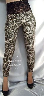 high waisted leopard print black lace top leggings xl