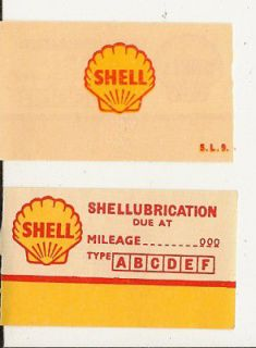 10 VINTAGE 1940s 50s SHELL OIL/GAS OIL CHANGE stickers OLD but NEW