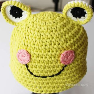 Baby Frog Earflap Ear Flap Hat Beanie Crochet Handmade Cap Ym4q