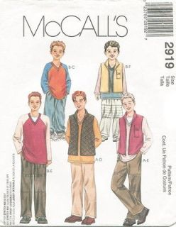mccalls 2919 boys vest top pants sewing pattern more options