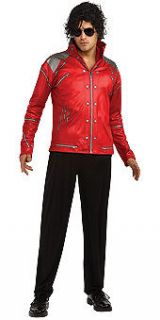 Mens Michael Jackson Red Jacket Zipper Beat It Halloween Costume Adult