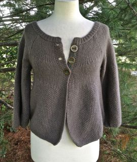 PEOPLE DARK TAUPE 3 BUTTON CARDIGAN SWEATER 3/4 PUFF SLEEVES NWT SZ XS