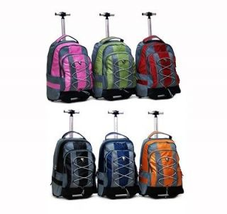 18 BLACK PREMIUM HEAVY DUTY WHEELED ROLLING BACKPACK/ BOOKBAG (6