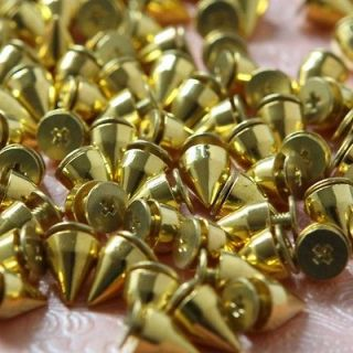 Newly listed 100 PCS 9.5mm Studs Rivet Gold Metal Bullet Spike Punk