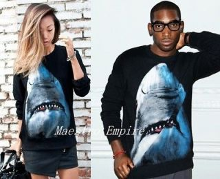 Grunge Punk Unisex Shark Print Long Sleeve Sweater T Shirt Top Black