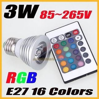 3W RGB IR Remote 16 Color changing LED E27 85v 265v Spot Light bulb