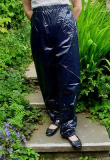 PVC OVERTROUSERS WATERPROOF RAINWEAR SHINY BLACK L LARGE UNISEX DESIGN