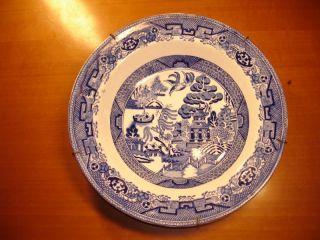 ANTIQUE ORIG. BLUE WILLOW HOLLINSHEAD & KIRKHAM ENGLISH DINNER PLATE c