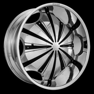619 CHROME WHEELS BLACK Inserts Rims+Tires PKG 5x115 FWD 20 24 26 28