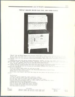 1936 ad Royal Square Round Oak Coal Wood Ranges Stove Oven Porcelain