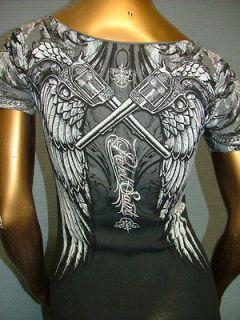 REBEL SAINTS by AFFLICTION Sexy RHINESTONES Guns Wings SINFUL T SHIRT