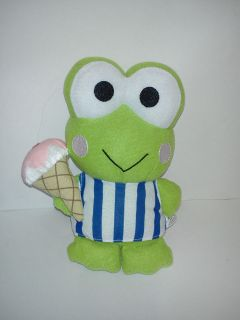 Keroppi ICE CREAM CONE Plush Stuffed Sanrio Hello Kitty Frog Toy
