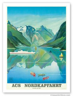 vintage travel poster norway fjord cruise hapag lloyd more options