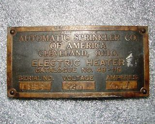 Vintage Automatic Sprinkler Co of America Cleveland OH Electric Heater