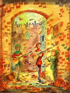 Newly listed AUTUMN STREET MUSICIANS Medieval Europe Print Signed