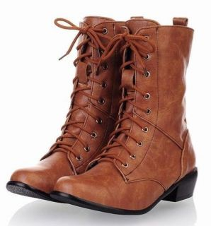 Womens Ladies Western Lace Up Cuffed Low Heel Mid Calf Boots Plus Size