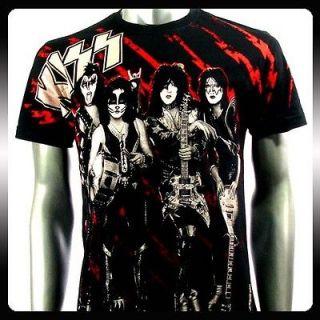 Kiss Punk Rock n Roll Music Band Retro T shirt Sz L Punk Ki22