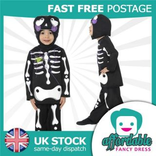 CHILDS BOYS SCARY SKELETON BONES HALLOWEEN COSTUME FANCY DRESS SPOOKY