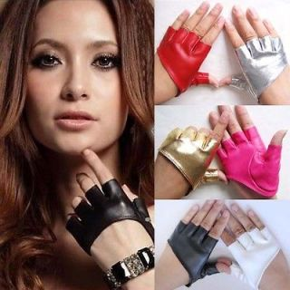 New Fashion PU Leather Gloves Ladys Fingerless Driving Gloves Show