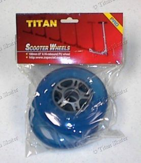 blue 100mm scooter replacement wheels no bearings razor pro compatible