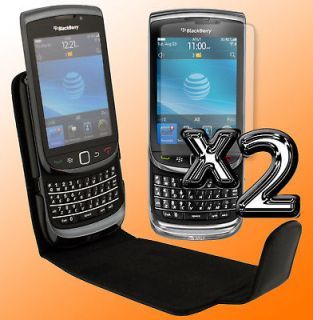 Black Leather Flip Case Cover Screen Savers bundle for Blackberry
