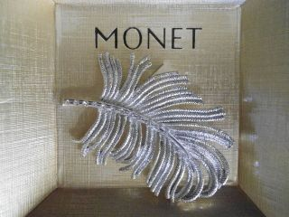 NEW MONET LOVELY TEXTURED SILVER TONE LEAF WITH RHINESTONES BROOCH