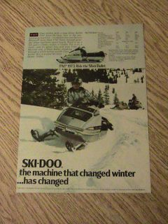1973 SKI DOO SNOWMOBILE ADVERTISEMENT SNOW MACHINE SILVER BULLET TNT