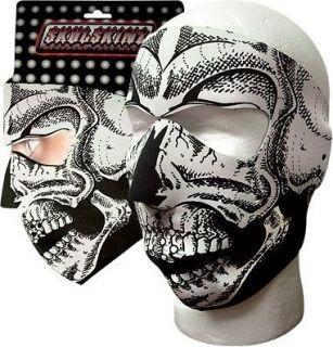 Hunter, Biker, Ski Neoprene Face Mask   Full B&W Skull (BWS