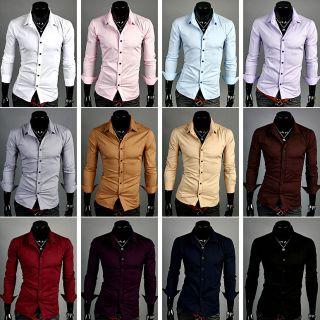 new mens slim basic long sleeve casual dress shirts 13