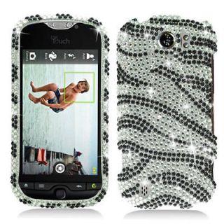 Silver Zebra Crystal Bling Hard Case Cover for T Mobile HTC myTouch 4G