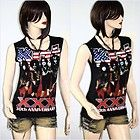 Kiss Punk Metal Rock DIY Sleeveless Raw Edge Vest Indie Style Tee Top