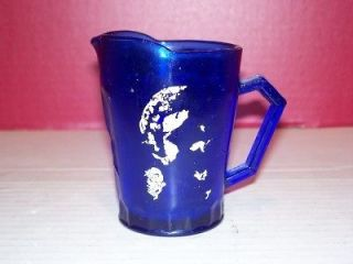 vintage shirley temple cobalt blue glass pitcher time left $