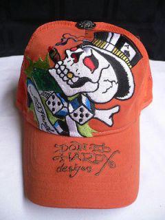 SUMMER MEN ED HARDY ORANGE EMBROIDERY CAP SMOKING BRAD SKULL HAT LKS