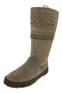 Bearpaw NEW Silverthorne Taupe Suede Lace Up Studded Mid Calf Boots