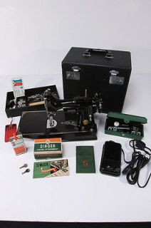 1950 Singer Featherweight Sewing Machine New Cord W/ Prof. Cleaning