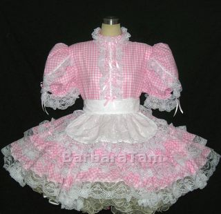 bbt adult sissy gingham cotton maid dress pk