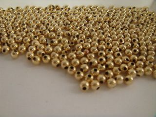 10 4MM 14K GOLD BEADS PLAIN JEWELRY MAKING 14K YELLOW SOLID GOLD BEADS