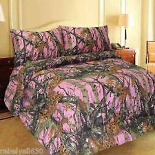 BED IN BAG SET PINK CAMO SHEETS & COMFORTER WOODS 4 PC SET TWIN