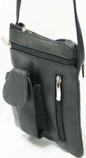 New Black Genuine Leather Shoulder Bag Cross Body Purse Cell Holder