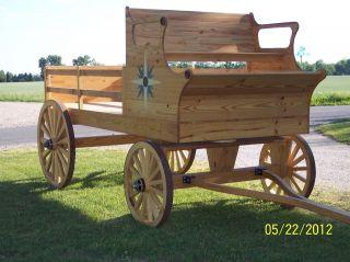 Wooden Wagon, 15 spoke wheels, Solid Yellow Pine, Inlays, Walnut