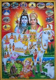Lord Shiva Parvati Ganesh, Divine Cow & Shiv Lings   POSTER   21x31