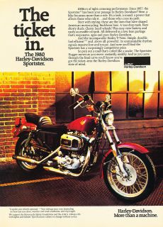 1980 Harley Davidson Sportster Motorcycle   Vintage Advertisement Ad