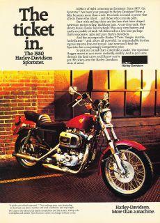 1980 Harley Davidson Sportster Motorcycle   Vintage Advertisement Ad
