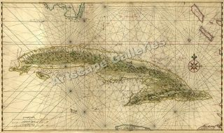 1639 island of cuba caribbean treasure map 24x40 time left