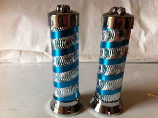 CUSTOM GRIPS BLOCK W/SWIRLS SILVER/BLUE BEACH CRUISER CHOPPER LOWRIDER