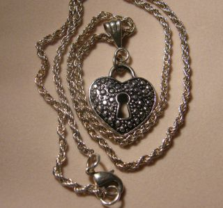 hand made silver heart shaped lock pendant necklace from united