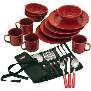 New Coleman Enamel Dining Kit Outdoor Camping Tailgate Dishes Cups