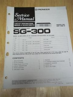 Pioneer Service Manual~SG 300 Graphic Equalizer~Original~Repair
